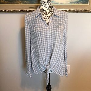Knox Rose Blue Embroidered Plaid